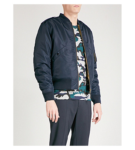 SANDRO Faux-fur lined shell bomber jacket (Navy+blue