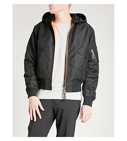 SANDRO Hooded satin padded bomber jacket (Black