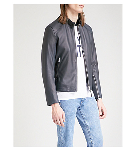 SANDRO Zip-up leather jacket (Marine