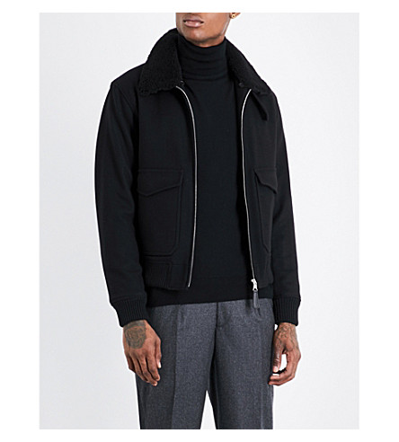SANDRO Shearling-collar wool-blend jacket (Black