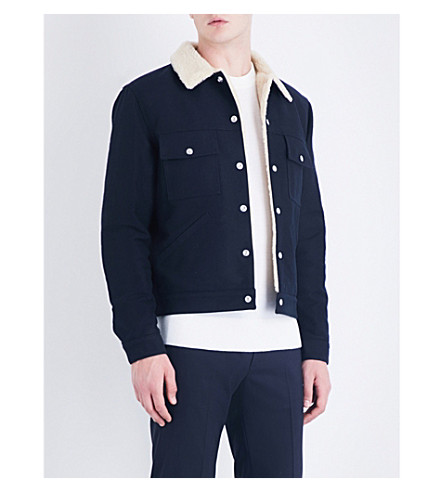 SANDRO Faux-shearling cotton-drill jacket (Navy+blue