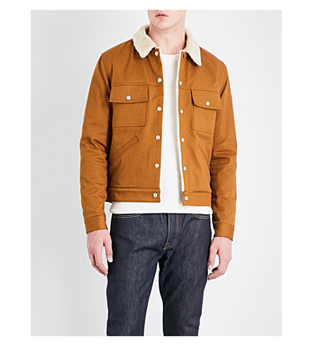 SANDRO Faux-shearling cotton-twill jacket (Caramel