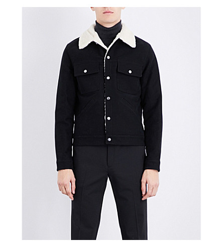 SANDRO Faux-shearling cotton-twill jacket (Black
