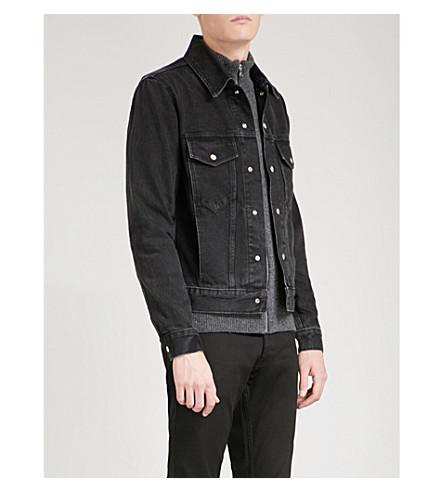 SANDRO Popper-fastened denim jacket (Black
