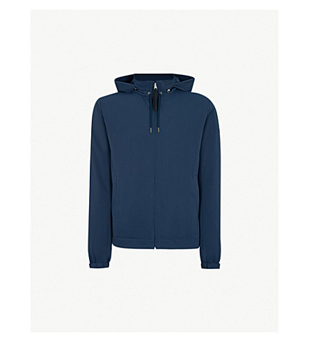 SANDRO 拉绳斜纹连帽夹克 (蓝 acier