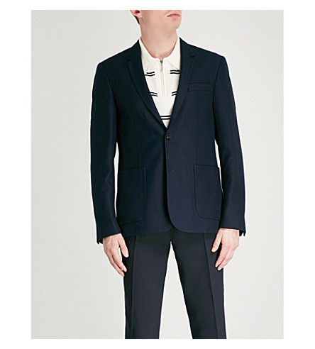 SANDRO Slim-fit wool-blend blazer (Marine