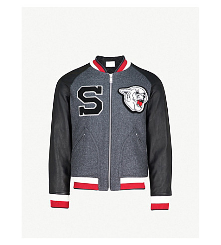 SANDRO Cougar-appliqué wool-blend bomber jacket (Grey