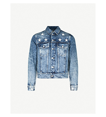 SANDRO Star-detail faded denim jacket (Blue+vintage+-+denim