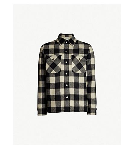 SANDRO 格纹羊毛混纺夹克 (黑 + 白