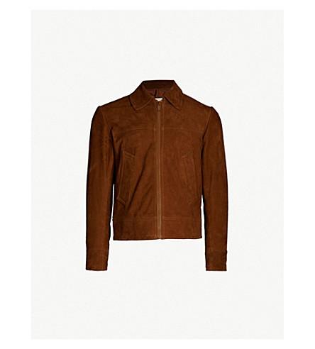 SANDRO 拉链绒面革夹克 (棕色