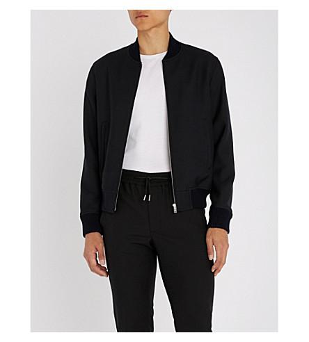 SANDRO Stand-collar woven bomber jacket (Marine