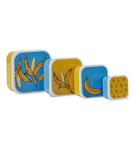 PAPERCHASE Banana set of four snack boxes