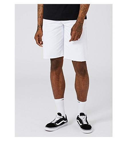 TOPMAN Raw-hem oversized-fit denim shorts (White