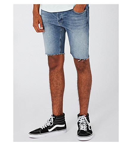 TOPMAN Raw-hem skinny denim shorts (Mid+blue