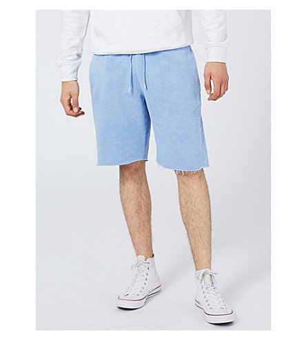 TOPMAN Raw-hem relaxed-fit cotton-jersey shorts (Mid+blue