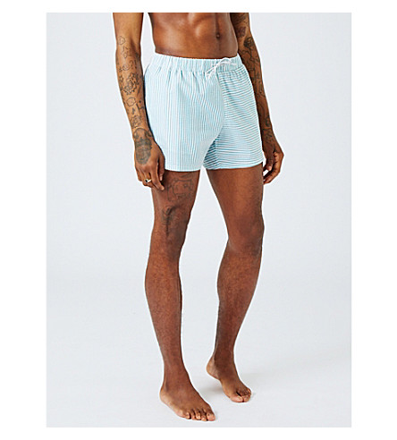 TOPMAN Spliced stripe cotton-blend swim shorts (Dark+green