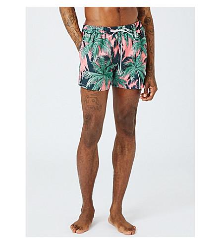 TOPMAN Palm-print swim shorts (Pink