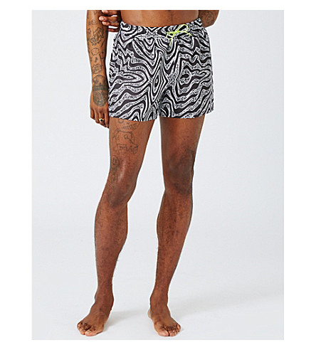 TOPMAN Distortion shell swim shorts (Black