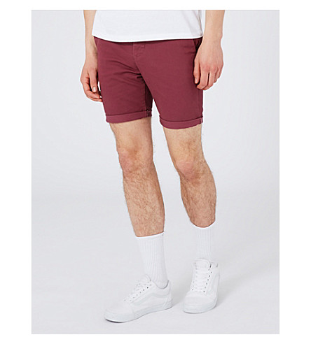 TOPMAN Burg stretch-cotton chino shorts (Burgundy