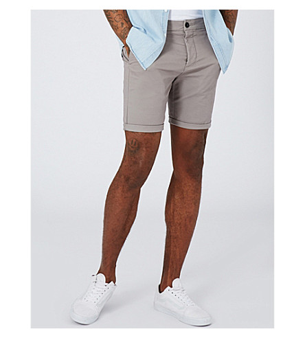 TOPMAN Skinny-fit chino shorts (Grey