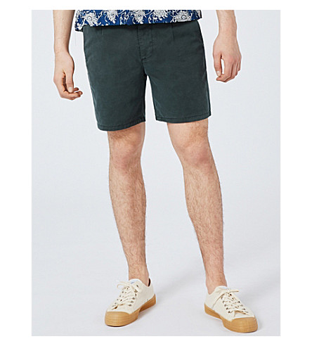 TOPMAN Washed pleated chino shorts (Dark+green