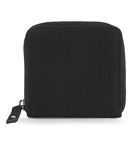 TOPMAN Suedette zip-around wallet (Black