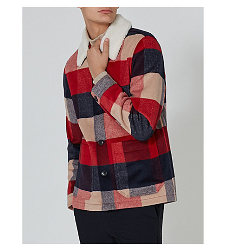 TOPMAN Checked woven jacket (Black