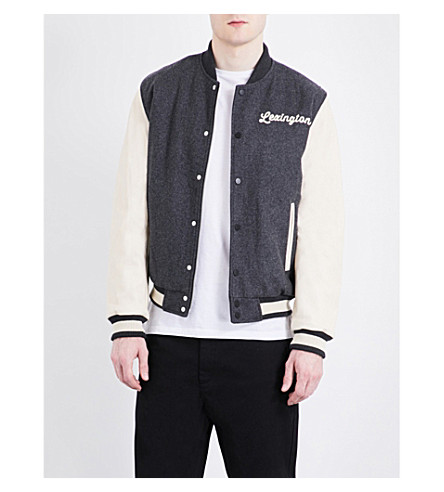 TOPMAN Lexington woven varsity jacket (Dark+grey