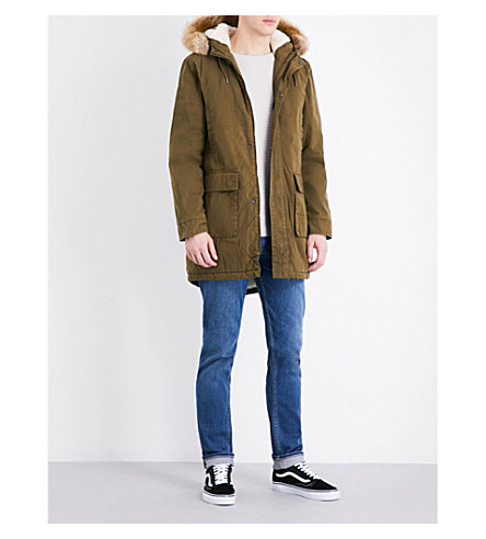 TOPMAN Faux-fur hood cotton-blend parka coat (Khaki