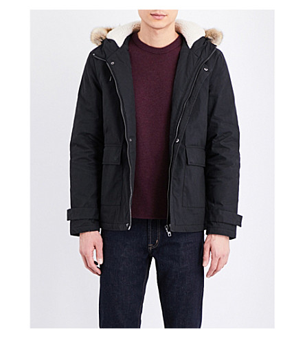 TOPMAN Faux-fur trimmed hooded parka (Black