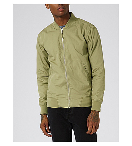 TOPMAN Washed cotton bomber jacket (Khaki