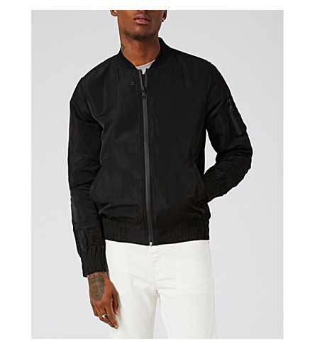 TOPMAN Elton shell bomber jacket (Black