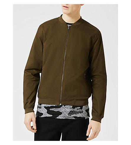 TOPMAN Argon cotton bomber jacket (Khaki