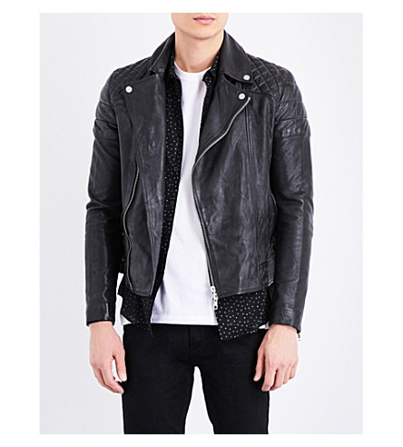 TOPMAN Temple quilted leather biker jacket (Black