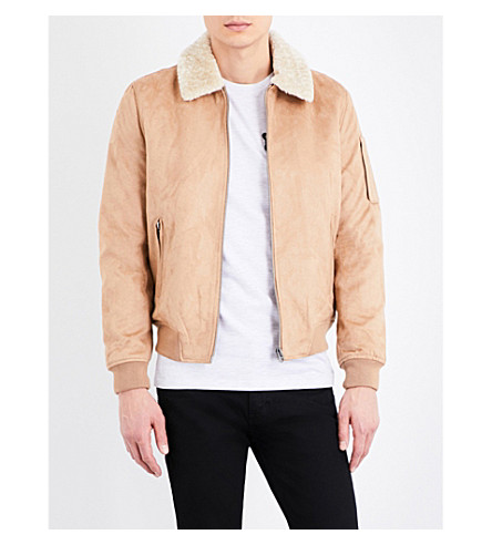TOPMAN Crest faux sheepskin-trimmed flight jacket (Stone