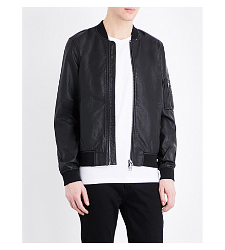 TOPMAN Faux-leather bomber jacket (Black