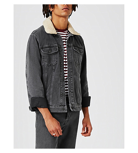 TOPMAN Detachable collar denim jacket (Black