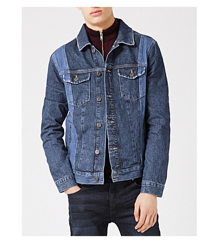 TOPMAN Panelled denim jacket (Blue