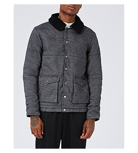 TOPMAN Leroy denim puffer jacket (Grey