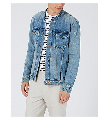TOPMAN Collarless denim jacket (Mid+blue