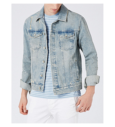 TOPMAN Distressed denim jacket (Light+blue