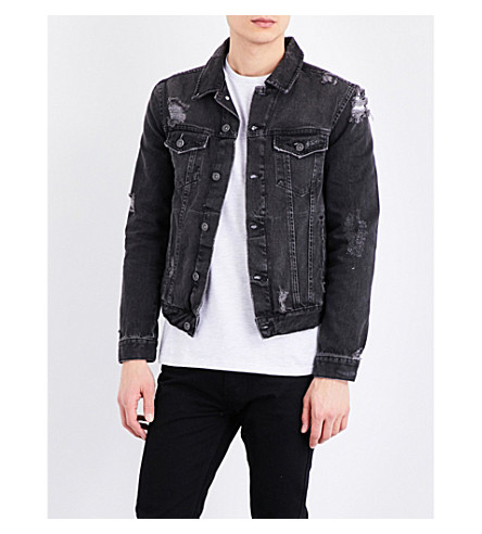 TOPMAN Western distressed denim jacket (Black