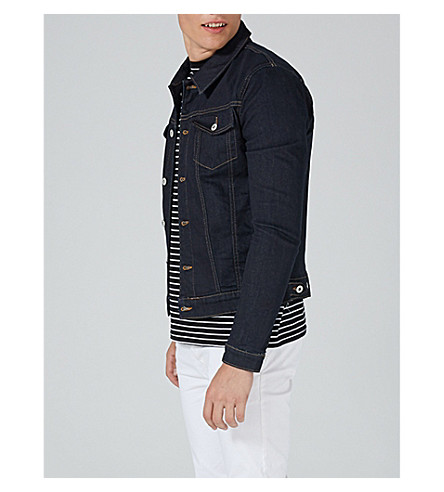 TOPMAN Muscle-fit denim jacket (Dark+blue