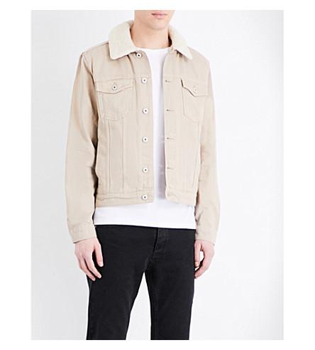 TOPMAN Faux-shearling lined denim jacket (Stone