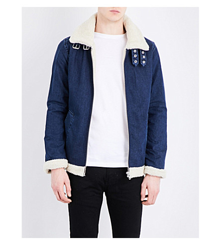 TOPMAN Faux-shearling and denim jacket