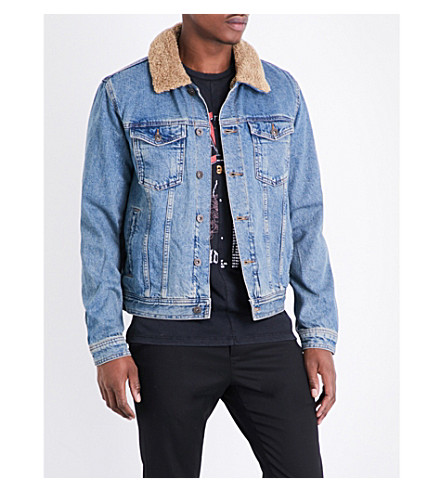 TOPMAN Titan Borg faux-shearling and denim jacket