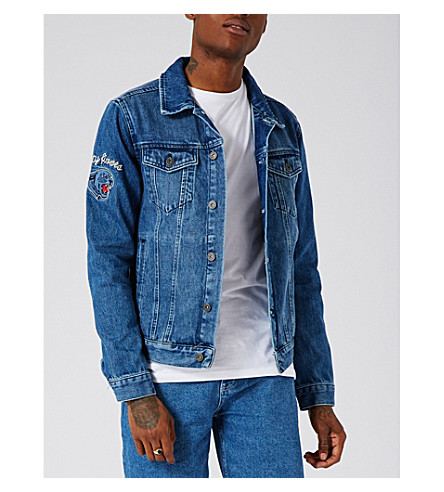 TOPMAN Embroidered denim jacket (Blue