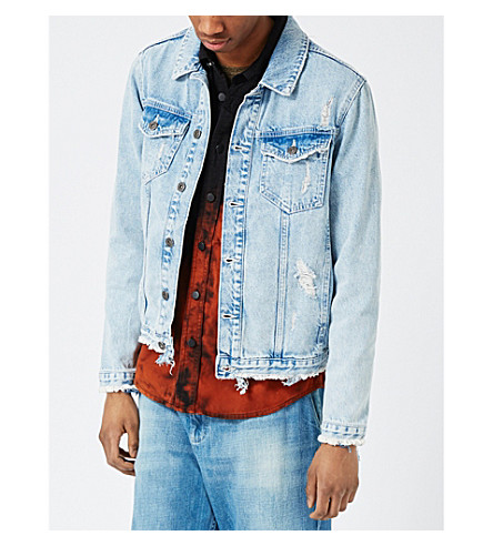 TOPMAN Distressed denim jacket (Blue