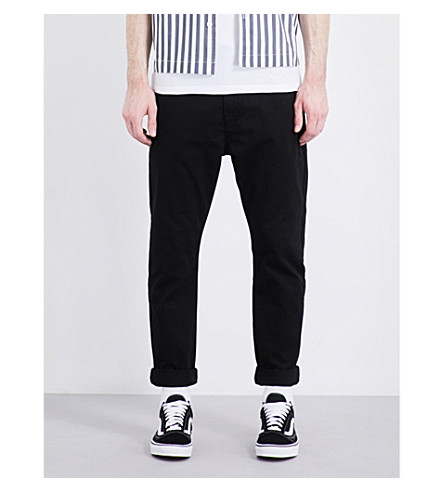 TOPMAN Standard-fit tapered chinos (Black