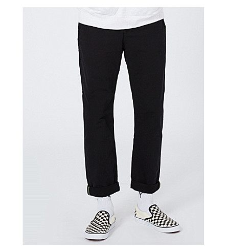 TOPMAN Standard-fit tapered cotton trousers (Black